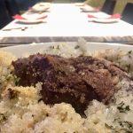 蝦夷鹿の岩塩包み焼き 骨付き300g トランペット茸のソース 3600円